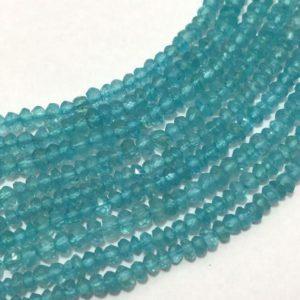 Shop Apatite Faceted Beads! Natural Apetite Micro Faceted Rondelle Beads, 3mm to 3.5mm, 13 inches, Blue Beads, Gemstone Beads, Semiprecious Stone Beads | Natural genuine faceted Apatite beads for beading and jewelry making.  #jewelry #beads #beadedjewelry #diyjewelry #jewelrymaking #beadstore #beading #affiliate #ad