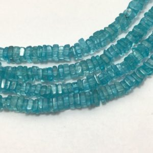 """Shop Apatite Bead Shapes! 150 Carat Sky Apatite Beads Disc Square 3.5 To 4.5 mm 16""""/Semi Precious Beads/Gemstone Beads/Sky Apatite Beads/Disc Square Beads/Sky Beads 