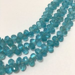 Shop Apatite Bead Shapes! 54 Cts Sky Apetite Faceted Drops 4×6 mm to 5×7 mm/Gemstone Beads/Semi Precious Beads/Blue Beads/Faceted Drops | Natural genuine other-shape Apatite beads for beading and jewelry making.  #jewelry #beads #beadedjewelry #diyjewelry #jewelrymaking #beadstore #beading #affiliate #ad