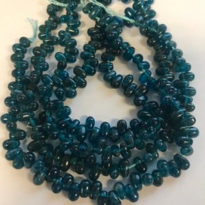 Natural Apatite 8x6x3mm Flat Teardrop Gemstone Beads–7.5 Inch Strand | Natural genuine other-shape Gemstone beads for beading and jewelry making.  #jewelry #beads #beadedjewelry #diyjewelry #jewelrymaking #beadstore #beading #affiliate #ad