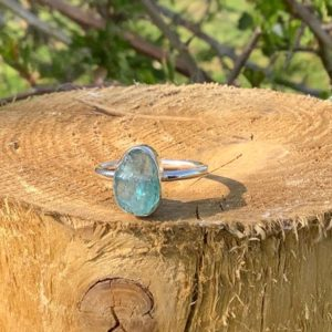 Shop Apatite Rings! Womens Raw Stone Silver Ring, Apatite Silver Ring, Gemstone Jewellery, Gift for Girlfriend or Sister | Natural genuine Apatite rings, simple unique handcrafted gemstone rings. #rings #jewelry #shopping #gift #handmade #fashion #style #affiliate #ad