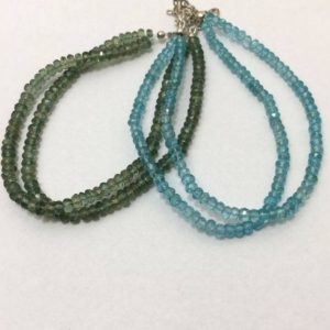 Shop Apatite Rondelle Beads! Green Apetite and Blue Apetite Micro Faceted Rondelle Beaded Bracelet, 3mm to 3.5mm, Blue and Green Beads, Gemstone, Semiprecious Stones | Natural genuine rondelle Apatite beads for beading and jewelry making.  #jewelry #beads #beadedjewelry #diyjewelry #jewelrymaking #beadstore #beading #affiliate #ad