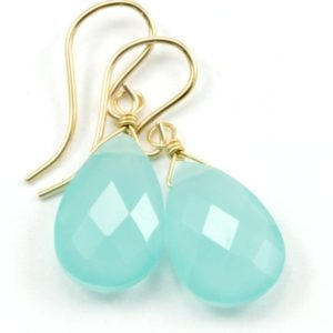 Shop Blue Chalcedony Jewelry! Aqua Blue Chalcedony Earrings 14k Solid Gold or Filled or Sterling Silver Teardrop Pear Faceted Soft Pale Blue Natural Dainty Everyday Drops | Natural genuine Blue Chalcedony jewelry. Buy crystal jewelry, handmade handcrafted artisan jewelry for women.  Unique handmade gift ideas. #jewelry #beadedjewelry #beadedjewelry #gift #shopping #handmadejewelry #fashion #style #product #jewelry #affiliate #ad