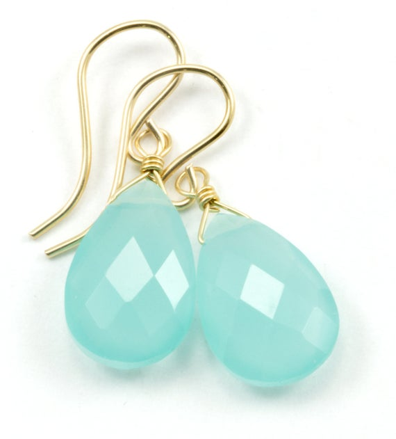 Aqua Blue Chalcedony Earrings 14k Solid Gold Or Filled Or Sterling Silver Teardrop Pear Faceted Soft Pale Blue Natural Dainty Everyday Drops