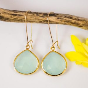 Shop Blue Chalcedony Jewelry! Aqua Blue Chalcedony Earrings – Long Dangle Earrings –  Gemstone Earrings – Gold Earrings | Natural genuine Blue Chalcedony jewelry. Buy crystal jewelry, handmade handcrafted artisan jewelry for women.  Unique handmade gift ideas. #jewelry #beadedjewelry #beadedjewelry #gift #shopping #handmadejewelry #fashion #style #product #jewelry #affiliate #ad