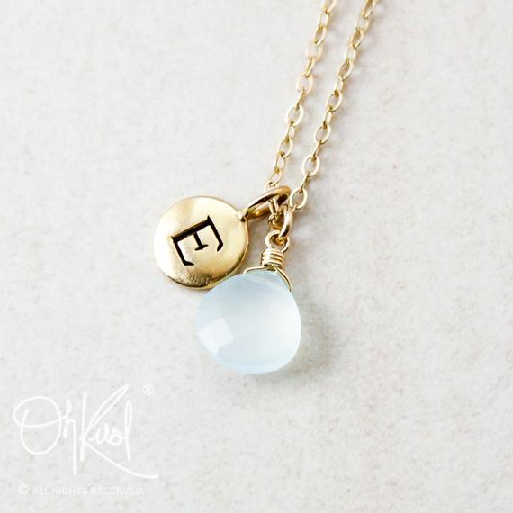 Aqua Blue Chalcedony Necklace, Hand Stamped Initial, June Birthdays