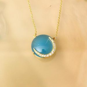 Shop Blue Chalcedony Necklaces! Blue Chalcedony Necklace, Blue Necklace, Chalcedony Jewelry, Chalcedony Pendant, 14k Gold Plated Satellite Chain, Light Blue, gift for her | Natural genuine Blue Chalcedony necklaces. Buy crystal jewelry, handmade handcrafted artisan jewelry for women.  Unique handmade gift ideas. #jewelry #beadednecklaces #beadedjewelry #gift #shopping #handmadejewelry #fashion #style #product #necklaces #affiliate #ad