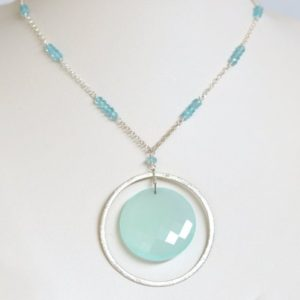 Shop Blue Chalcedony Necklaces! Aqua Chalcedony Necklace- Blue Chalcedony Necklace- Aqua Blue Necklace- Circle Necklace- Sterling Silver Necklace- Blue Apatite Necklace | Natural genuine Blue Chalcedony necklaces. Buy crystal jewelry, handmade handcrafted artisan jewelry for women.  Unique handmade gift ideas. #jewelry #beadednecklaces #beadedjewelry #gift #shopping #handmadejewelry #fashion #style #product #necklaces #affiliate #ad