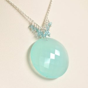 Shop Blue Chalcedony Necklaces! Aqua Chalcedony Necklace- Blue Chalcedony Necklace- Aqua Blue Necklace- Circle Necklace- Argentium Sterling Silver Necklace- Blue Apatite | Natural genuine Blue Chalcedony necklaces. Buy crystal jewelry, handmade handcrafted artisan jewelry for women.  Unique handmade gift ideas. #jewelry #beadednecklaces #beadedjewelry #gift #shopping #handmadejewelry #fashion #style #product #necklaces #affiliate #ad