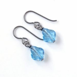Aquamarine Baroque Crystal Titanium Earrings, Light Blue Hypoallergenic Nickel Free Niobium Earrings for Sensitive Ears | Natural genuine Gemstone earrings. Buy crystal jewelry, handmade handcrafted artisan jewelry for women.  Unique handmade gift ideas. #jewelry #beadedearrings #beadedjewelry #gift #shopping #handmadejewelry #fashion #style #product #earrings #affiliate #ad