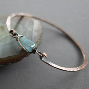 Shop Aquamarine Bracelets! Copper bangle bracelet with aquamarine nugget stone – Aquamarine bracelet – Copper bracelet – Healing bracelet – Cuff bracelet – BR005 | Natural genuine Aquamarine bracelets. Buy crystal jewelry, handmade handcrafted artisan jewelry for women.  Unique handmade gift ideas. #jewelry #beadedbracelets #beadedjewelry #gift #shopping #handmadejewelry #fashion #style #product #bracelets #affiliate #ad