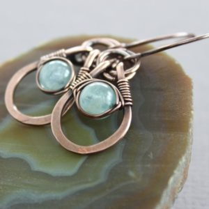Shop Aquamarine Jewelry! Aquamarine dangle earrings – Copper earrings – Metal earrings – Blue earrings – Gift for her – Gemstone earrings – ER017 | Natural genuine Aquamarine jewelry. Buy crystal jewelry, handmade handcrafted artisan jewelry for women.  Unique handmade gift ideas. #jewelry #beadedjewelry #beadedjewelry #gift #shopping #handmadejewelry #fashion #style #product #jewelry #affiliate #ad