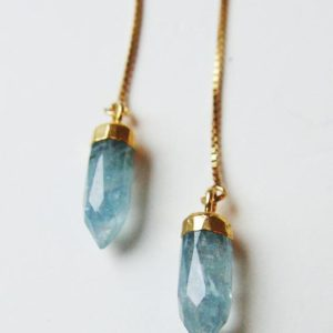 Shop Aquamarine Earrings! Aquamarine Point Gold Chain Earrings | Natural genuine Aquamarine earrings. Buy crystal jewelry, handmade handcrafted artisan jewelry for women.  Unique handmade gift ideas. #jewelry #beadedearrings #beadedjewelry #gift #shopping #handmadejewelry #fashion #style #product #earrings #affiliate #ad
