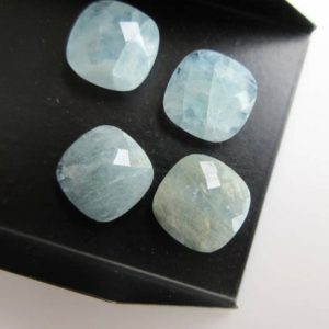 Shop Aquamarine Faceted Beads! 6 Pieces 16x16mm Calibrated Natural Aquamarine Cushion Shaped Cabochons, Both Side Faceted Aquamarine Loose Gem Stone, BB466/11 | Natural genuine faceted Aquamarine beads for beading and jewelry making.  #jewelry #beads #beadedjewelry #diyjewelry #jewelrymaking #beadstore #beading #affiliate #ad