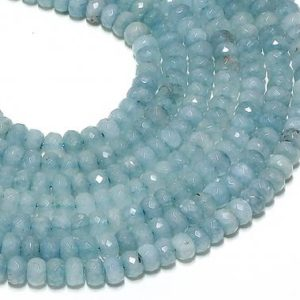 Shop Aquamarine Beads! Aquamarine beads,March birthstone,natural aquamarine,faceted rondelles,faceted beads,gemstone beads,natural beads,aquamarine rondelle beads | Natural genuine beads Aquamarine beads for beading and jewelry making.  #jewelry #beads #beadedjewelry #diyjewelry #jewelrymaking #beadstore #beading #affiliate #ad