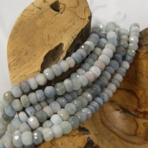 Shop Aquamarine Faceted Beads! Aquamarine Beads Natural Faceted Rondelle-9x5mm -15.5 inch strand-1 strand/3 strands | Natural genuine faceted Aquamarine beads for beading and jewelry making.  #jewelry #beads #beadedjewelry #diyjewelry #jewelrymaking #beadstore #beading #affiliate #ad