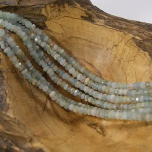 Shop Aquamarine Faceted Beads! Aquamarine Beads Natural Faceted Rondelle 6x3mm -15.5 inch strand | Natural genuine faceted Aquamarine beads for beading and jewelry making.  #jewelry #beads #beadedjewelry #diyjewelry #jewelrymaking #beadstore #beading #affiliate #ad