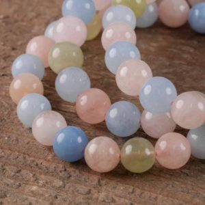 AQUAMARINE & MORGANITE Healing Crystal Round Beaded Bracelet – Bridesmaid Gift, Friendship Bracelet, Raw Stone Jewelry, Wedding Gift E0573 | Natural genuine Morganite bracelets. Buy handcrafted artisan wedding jewelry.  Unique handmade bridal jewelry gift ideas. #jewelry #beadedbracelets #gift #crystaljewelry #shopping #handmadejewelry #wedding #bridal #bracelets #affiliate #ad