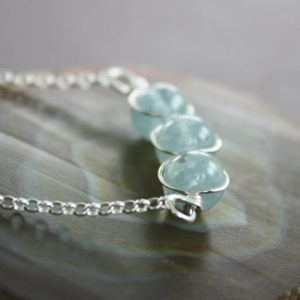Pale blue aquamarine sterling silver necklace, Beaded row necklace, Aquamarine necklace, Stone necklace, Dainty necklace – NK004 | Natural genuine Aquamarine necklaces. Buy crystal jewelry, handmade handcrafted artisan jewelry for women.  Unique handmade gift ideas. #jewelry #beadednecklaces #beadedjewelry #gift #shopping #handmadejewelry #fashion #style #product #necklaces #affiliate #ad