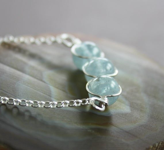 Pale Blue Aquamarine Sterling Silver Necklace, Beaded Row Necklace, Aquamarine Necklace, Stone Necklace, Dainty Necklace - Nk004