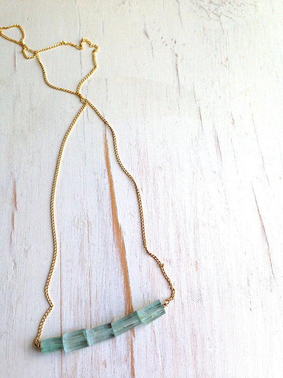 Aquamarine Necklace Aquamarine Pendant Necklace Aquamarine Jewelry Gemstone Necklace Bar Necklace