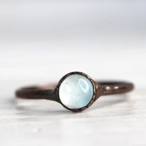 Aquamarine Ring –  Electroformed Copper Ring – Blue Crystal Ring – Smooth Stone Ring – Pisces Jewelry | Natural genuine Array jewelry. Buy crystal jewelry, handmade handcrafted artisan jewelry for women.  Unique handmade gift ideas. #jewelry #beadedjewelry #beadedjewelry #gift #shopping #handmadejewelry #fashion #style #product #jewelry #affiliate #ad
