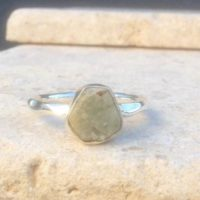Aquamarine Silver Ring, March Birthstone Ring, Raw Stone Silver Jewellery | Natural genuine Gemstone jewelry. Buy crystal jewelry, handmade handcrafted artisan jewelry for women.  Unique handmade gift ideas. #jewelry #beadedjewelry #beadedjewelry #gift #shopping #handmadejewelry #fashion #style #product #jewelry #affiliate #ad