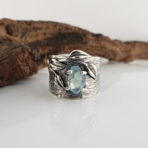 Shop Aquamarine Rings! Wide Aquamarine Leaf and Twig Sterling Silver Ring – Handmade by Dawn | Natural genuine Aquamarine rings, simple unique handcrafted gemstone rings. #rings #jewelry #shopping #gift #handmade #fashion #style #affiliate #ad