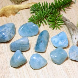 Shop Tumbled Aquamarine Crystals & Pocket Stones! Aquamarine Natural Blue Tumbled Stones Polished Pocket Stones Healing Protecting courage strength throat chakra March birthstone gift 51040 | Natural genuine stones & crystals in various shapes & sizes. Buy raw cut, tumbled, or polished gemstones for making jewelry or crystal healing energy vibration raising reiki stones. #crystals #gemstones #crystalhealing #crystalsandgemstones #energyhealing #affiliate #ad
