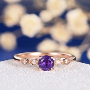 Art Deco Ring Amethyst Engagement Ring Rose Gold Wedding Diamond Women Antique Bridal February Birthstone Anniversary Free Engraving Custom | Natural genuine Array rings, simple unique alternative gemstone engagement rings. #rings #jewelry #bridal #wedding #jewelryaccessories #engagementrings #weddingideas #affiliate #ad