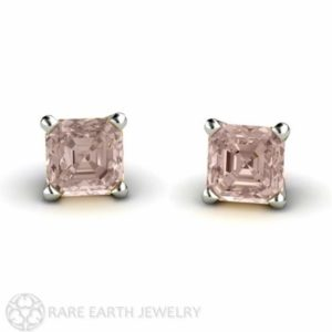 Asscher Morganite Earrings 14K Rose Gold Morganite Stud Earrings Post Earrings | Natural genuine Morganite earrings. Buy crystal jewelry, handmade handcrafted artisan jewelry for women.  Unique handmade gift ideas. #jewelry #beadedearrings #beadedjewelry #gift #shopping #handmadejewelry #fashion #style #product #earrings #affiliate #ad