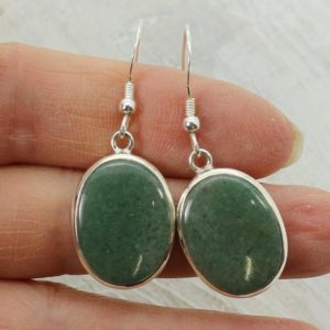 Shop Aventurine Earrings! Green aventurine earrings genuine aventurine oval stone cabochon set on sterling silver 925 natural green stone dangling drop earrings | Natural genuine Aventurine earrings. Buy crystal jewelry, handmade handcrafted artisan jewelry for women.  Unique handmade gift ideas. #jewelry #beadedearrings #beadedjewelry #gift #shopping #handmadejewelry #fashion #style #product #earrings #affiliate #ad