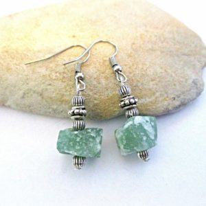 Aventurine Earrings | Raw Stone | Green | Bolivian Jewelry | Bridal Jewelry Anniversary Engagement Gift Bridesmaid Mother of the Bride Gifts | Natural genuine Gemstone earrings. Buy handcrafted artisan wedding jewelry.  Unique handmade bridal jewelry gift ideas. #jewelry #beadedearrings #gift #crystaljewelry #shopping #handmadejewelry #wedding #bridal #earrings #affiliate #ad