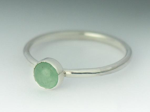 Aventurine Ring, Stackable Sterling Silver Aventurine Ring, Aventurine Simple Ring, Aventurine Jewelry, Stack Ring, Natural Aventurine
