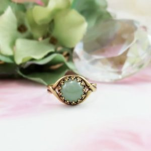 AVENTURINE RINGS, GREEN Jade Gemstone Cabochon Jewelry Gifts for Her, Antique Bronze Stacking Solitaire Ring, Boho Light Green Gem R5018 | Natural genuine Aventurine rings, simple unique handcrafted gemstone rings. #rings #jewelry #shopping #gift #handmade #fashion #style #affiliate #ad