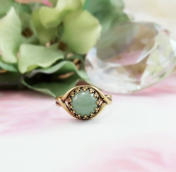 Aventurine Rings, Green Jade Gemstone Cabochon Jewelry Gifts For Her, Antique Bronze Stacking Solitaire Ring, Boho Light Green Gem R5018