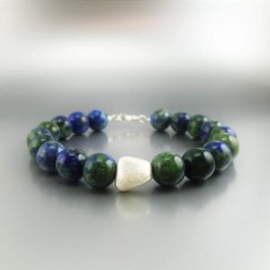 Shop Azurite Bracelets! Statement bracelet Azurite Malachite with silver nugget unique gift for her or him – deep blue and green natural combination gemstone | Natural genuine Azurite bracelets. Buy crystal jewelry, handmade handcrafted artisan jewelry for women.  Unique handmade gift ideas. #jewelry #beadedbracelets #beadedjewelry #gift #shopping #handmadejewelry #fashion #style #product #bracelets #affiliate #ad