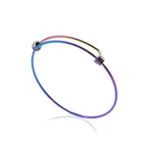 Shop Charm Bracelet Blanks! Bangle Stainless Steel Charm Bracelet, Blank Bangle Bracelet, Rainbow Bracelet, Wire Bracelet, Charm Bangle Bracelet, Jewelry Bracelet | Shop jewelry making and beading supplies, tools & findings for DIY jewelry making and crafts. #jewelrymaking #diyjewelry #jewelrycrafts #jewelrysupplies #beading #affiliate #ad