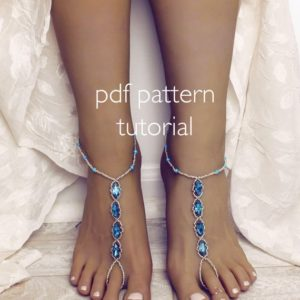Shop Jewelry Making Tutorials! Barefoot Sandals PDF Foot jewelry tutorial patter tutorial Beading tutorial for anklet toe bracelet something blue tutorial beading pattern | Shop jewelry making and beading supplies, tools & findings for DIY jewelry making and crafts. #jewelrymaking #diyjewelry #jewelrycrafts #jewelrysupplies #beading #affiliate #ad
