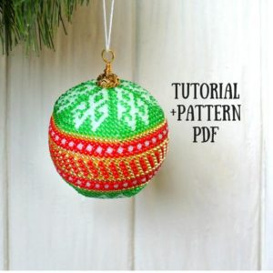 Shop Jewelry Making Tutorials! Bead pattern PDF Christmas Tutorial beading ball Bead crochet pattern and tutorial Christmas ball DIY Christmas decor DIY | Shop jewelry making and beading supplies, tools & findings for DIY jewelry making and crafts. #jewelrymaking #diyjewelry #jewelrycrafts #jewelrysupplies #beading #affiliate #ad