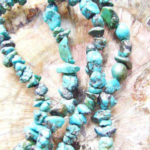 Shop Turquoise Chip & Nugget Beads! BEADS Real Turquoise Pebbles Chips 34 inch 1 or 5 Strands Matrix Blue Black Matrix Smooth,Green | Natural genuine chip Turquoise beads for beading and jewelry making.  #jewelry #beads #beadedjewelry #diyjewelry #jewelrymaking #beadstore #beading #affiliate #ad