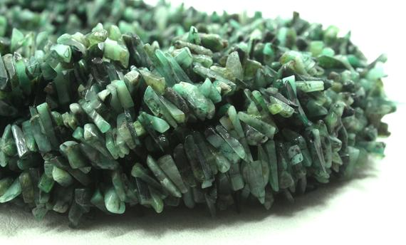 """Best Quality 16"""" Long Natural Emerald Gemstone Uncut Chips Shape Beads Size 10-13 Mm Jewelry Making Polished Smooth Beads Wholesale Price"""