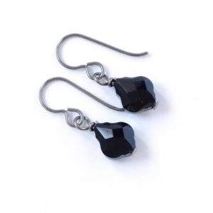 Jet Black Baroque Titanium Earrings, Black Baroque Swarovski Crystal, Hypoallergenic Nickel Free Pure Niobium Earrings for Sensitive Ears | Natural genuine Gemstone earrings. Buy crystal jewelry, handmade handcrafted artisan jewelry for women.  Unique handmade gift ideas. #jewelry #beadedearrings #beadedjewelry #gift #shopping #handmadejewelry #fashion #style #product #earrings #affiliate #ad