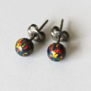 Black fire opal stud earrings, 3, 4, 5, 6, 8, 10mm opal ball studs Niobium or Titanium earrings hypoallergenic earrings Holiday gift for her | Natural genuine Gemstone earrings. Buy crystal jewelry, handmade handcrafted artisan jewelry for women.  Unique handmade gift ideas. #jewelry #beadedearrings #beadedjewelry #gift #shopping #handmadejewelry #fashion #style #product #earrings #affiliate #ad