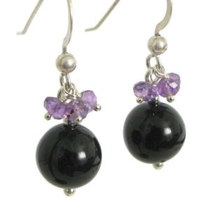 Shop Black Tourmaline Earrings! Black Tourmaline Earrings with Amethyst – in Sterling Silver, Black and Purple Earrings, Black Tourmaline Jewelr, Pretty Tourmaline Earring | Natural genuine Black Tourmaline earrings. Buy crystal jewelry, handmade handcrafted artisan jewelry for women.  Unique handmade gift ideas. #jewelry #beadedearrings #beadedjewelry #gift #shopping #handmadejewelry #fashion #style #product #earrings #affiliate #ad