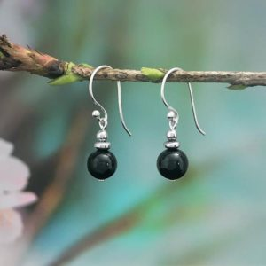 Shop Black Tourmaline Earrings! Black Tourmaline Earrings, Sterling Silver Earrings, Protection Black Tourmaline Earrings, Drop Earrings, Gift for Her | Natural genuine Black Tourmaline earrings. Buy crystal jewelry, handmade handcrafted artisan jewelry for women.  Unique handmade gift ideas. #jewelry #beadedearrings #beadedjewelry #gift #shopping #handmadejewelry #fashion #style #product #earrings #affiliate #ad