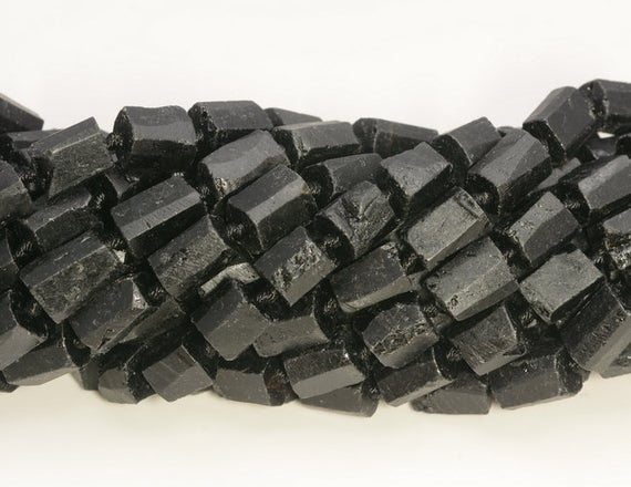 Genuine Natural Rough Black Tourmaline Gemstone Grade Aaa 8x6-12x8mm Faceted Round Tube Loose Beads (a237)