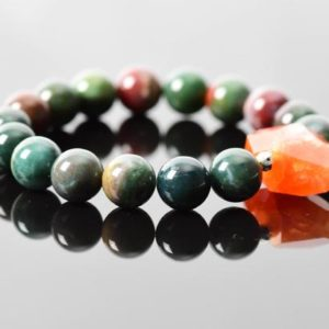 Bloodstone Bracelet, March Birthstone Heliotrope Bracelet, Dark Green Bracelet, Carnelian Gemstone Bracelet, Handmade Gemstone Jewelry | Natural genuine Bloodstone bracelets. Buy crystal jewelry, handmade handcrafted artisan jewelry for women.  Unique handmade gift ideas. #jewelry #beadedbracelets #beadedjewelry #gift #shopping #handmadejewelry #fashion #style #product #bracelets #affiliate #ad