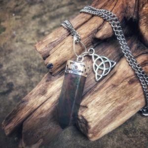 Bloodstone Necklace, Pagan Witchcraft Jewelry, Bloodstone Point Protection Necklace With Charm For Men And Women, Triquetra Charm Necklace | Natural genuine Bloodstone necklaces. Buy handcrafted artisan men's jewelry, gifts for men.  Unique handmade mens fashion accessories. #jewelry #beadednecklaces #beadedjewelry #shopping #gift #handmadejewelry #necklaces #affiliate #ad