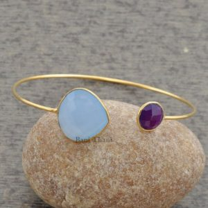 Blue Chalcedony Bracelet-Amethyst Quartz Bangle-Micron Gold Plated Bangle-925 Sterling Silver Bangle-Gemstone Bangle-Christmas Gift-#1272 | Natural genuine Blue Chalcedony bracelets. Buy crystal jewelry, handmade handcrafted artisan jewelry for women.  Unique handmade gift ideas. #jewelry #beadedbracelets #beadedjewelry #gift #shopping #handmadejewelry #fashion #style #product #bracelets #affiliate #ad